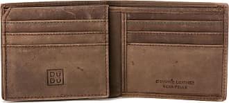 DuDu Portafoglio Uomo Porta Carte in Vera Pelle Vintage con 9 tasche Porta Tessere e Patta interna con retina Marrone scuro