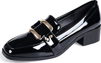 Jamron Womens Elegant Square Toe Block Heel Patent Leather Buckle Penny Loafers Ladies Office Court Shoes Black SN020104 UK5.5