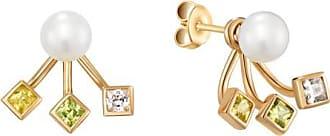 Misaki Boucles doreilles Sunbeams dorées avec perles de culture blanches