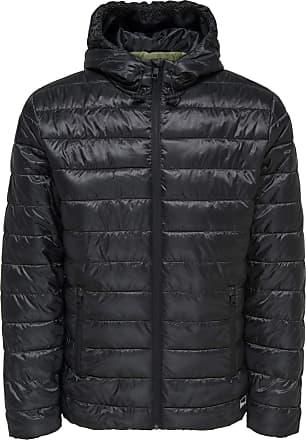 Only & Sons Mens New Liner Puffer Hood Black Jacket