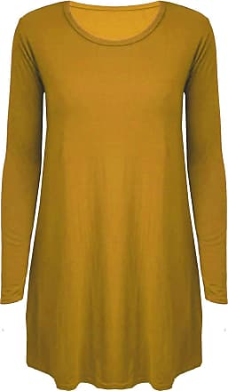21Fashion Womens Long Sleeve Plain Swing Dress Ladies Casual Wear Round Neck Flared Dress Mustard M/L UK 12-14