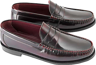 Ikon ALBION Mens Polished Leather Loafer Shoes Burgundy UK 12