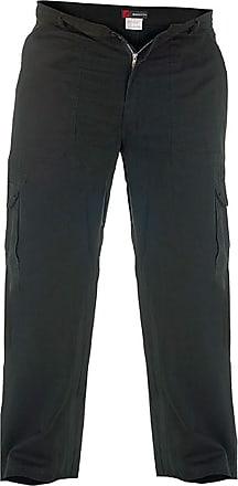 Duke London Mens Cargo Trousers, Black Length: 60 - Regular