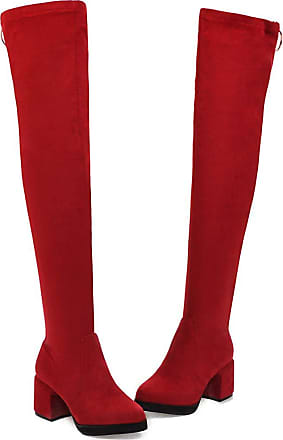 Vimisaoi Womens Thigh High Boots, Sexy Stretch Chunky Mid Heeled Over The Knee Boots