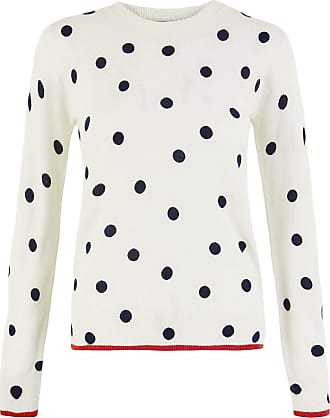 White Label Marks and Spencer Ivory Cream Navy Polka Dot Lightweight M&S Summer Jumper 3/4 Sleeve Red Trim Size 8