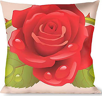 Buckle Down Pillow Decorative Throw Rose Trio Leaves Pink
