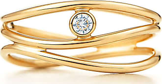 Tiffany & Co. Elsa Peretti Wave three-row diamond ring in 18k gold - Size 5 1/2