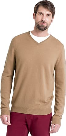 WoolOvers Mens Cashmere and Merino V Neck Jumper Camel, M