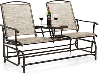 Best Choice Products 2-Person Outdoor Mesh Fabric Patio Double Glider w/ Tempered Glass Attached Table (Tan) - Brown