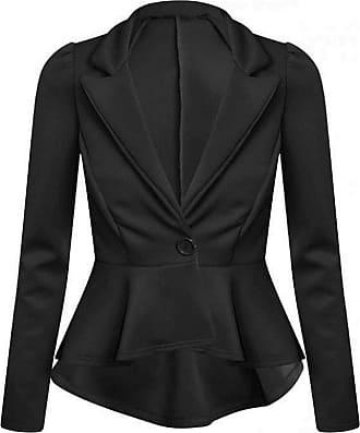 21Fashion Womens Long Sleeve Plain Flared Frill Peplum Blazer Ladies Fancy 1 Button Slim Fit Party Jacket Top Black UK 12