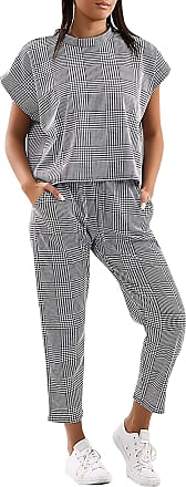 Love my Fashions Womens Check Print Plain 2 Piece Top Bottom Drawstring Elasticated Loungewear Tracksuit Gym Exercise Running Training Sportswear Jogging Suit S/M-M/L