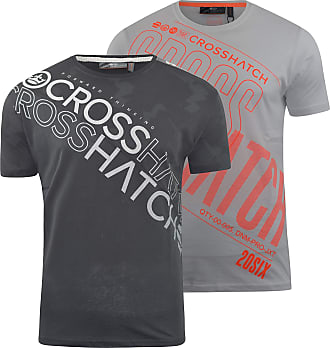 Crosshatch Mens T-Shirt 2 Pack Tee Top(XL,Black/Concept-White)