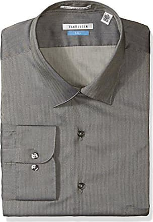 08f741e2dc6c Van Heusen Mens Big Herringbone Tall Fit Solid Spread Collar Dress Shirt,  Black Pepper,