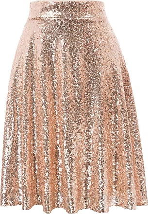 Grace Karin Spring Summer Lovely Solid Rose Golden Womens Skirt A-line Sparkling Sequins Sequined Pleated Skirt