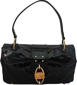 0e20cfea9095 Salvatore Ferragamo Black Patent Leather Shoulder Bag With Bamboo Motif