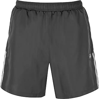Lonsdale Mens Training Two Stripe Woven Athlectic Running Shorts with Safety Pocket Zip, (Charcoal/White) Size Medium