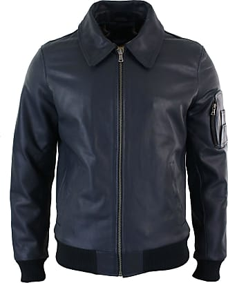 Infinity Mens Genuine Real Leather Harrington Bomber MA1 Classic Pilot MOD Jacket XS-5XL Navy