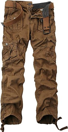 OCHENTA Mens Cotton-Washed Casual Cargo Trousers 3380 Coffee Size 30