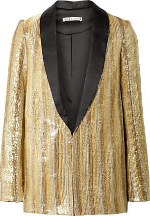Alice & Olivia Jace Oversized Satin-trimmed Sequined Cotton Blazer - Gold