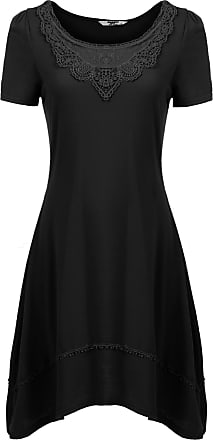 Zeagoo Womens Skater Dresses Short Sleeve Swing Dresses Basic A-Line Knee-Length Casual Dress Elegant Cotton Party Dress Summer Dresses - Black - 12