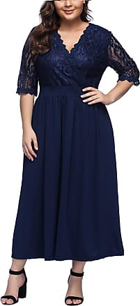 FeelinGirl Womens Plus Size Evening Dresses V Neck Half Sleeves High Waist A Line Christmas Party Dress (Lace-Blue, UK 22-24 3XL)