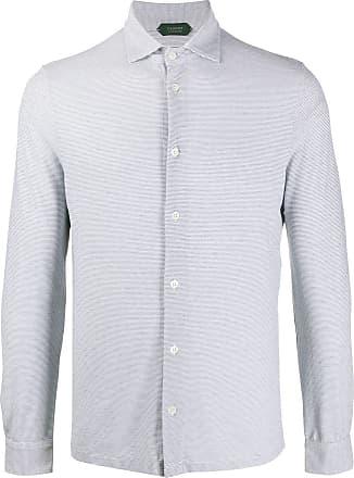 Zanone Camisa mangas longas com estampa de listras - Cinza