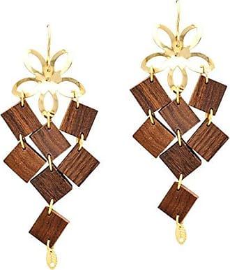 Tinna Jewelry Brinco Dourado Flor Com Quadradinhos De Madeira