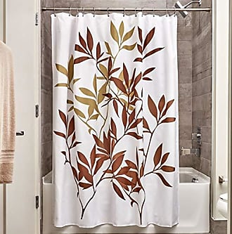 InterDesign Fabric Leaves Shower Curtain for Master, Guest, Kids, College Dorm Bathroom, Standard, Brown