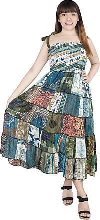 Lofbaz Womens Patchwork Dress Soft Lightweight Rayon Comfortable Summer Dresses - Green Scrap Fabric - OS