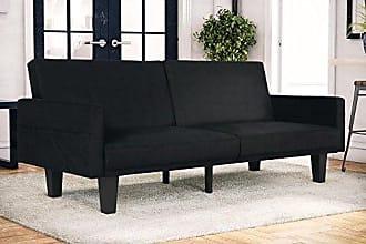Dorel Home Products DHP Metro Split Modern Futon with Storage Pocket, Upholstered in Microfiber, Multifunctional, Black