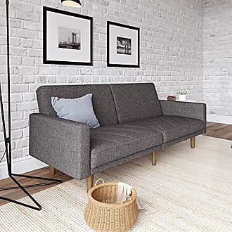 Dorel Home Products DHP Paxson Convertible Futon Couch Bed with Linen Upholstery and Wood Legs - Grey