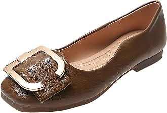 Daytwork Women Square Toe Loafers Shoes - Ladies Casual Flat Boat Shoes Buckle Flats Comfort Driving Walking Brown