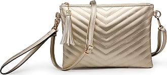 Craze London Womens Quilted Design Shoulder handbags,Womens Wristlet Wallet Ladies Evening Purse With Shoulder Strap (Gold)