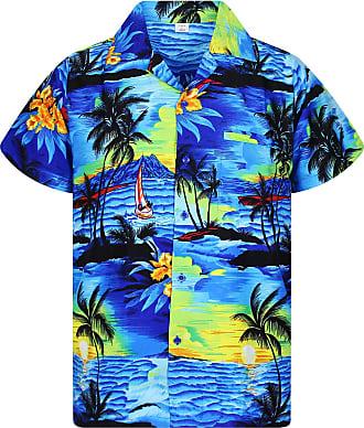 V.H.O. Funky Hawaiian Shirt, Shortsleeve, Surf, Blue, 6XL
