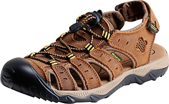 iLoveSIA Mens Athletic and Outdoor Closed-Toe Leather Sandals Light Brown UK 8.5 (Lable 43)