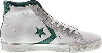 4779957a0fa93c Converse Schuhe Converse Pro Leder Vulc Mid Leder Mann in weißer Haut und  grünen Details 155097C