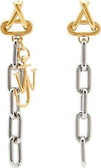 J.W.Anderson Logo-charm Oval-link Drop Earrings - Womens - Silver Multi