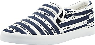oodji Mens Printed Cotton Canvas Shoes, Blue, 10.5 UK
