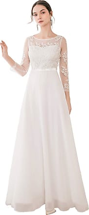 Ever-pretty Womens Elegant A Line Floor Length Empire Waist Long Sleeve Evening Dresses with Appliques White 14UK