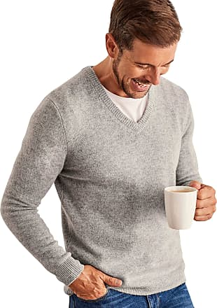 WoolOvers Mens Lambswool V-Neck Jumper Grey Marl, L