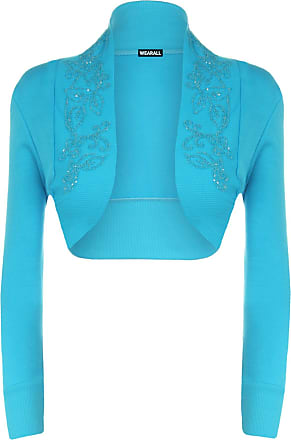 WearAll Ladies Beaded Shrug Womens Bolero Cardigan Top Turquoise 16/18