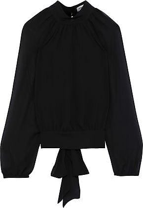 Rebecca Minkoff Rebecca Minkoff Woman Zariah Tie-back Gathered Georgette Top Black Size XXL