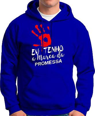 Atelier do Silk Moletom Canguru Flanelado Evangélico A Marca Da Promessa Cor:Azul;Tamanho:GG