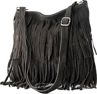 modamoda.de Ital. Leather bag Shoulderbag Shoulder bag Ladiesbag Wild leather T125, Colour:dark Brown