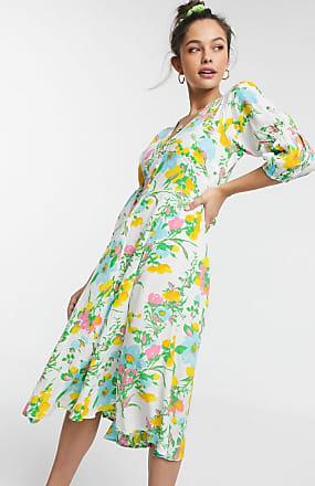 Faithfull The Brand Faithfull maud floral midi dress with 3/4 sleeve in ilona floral print-Multi