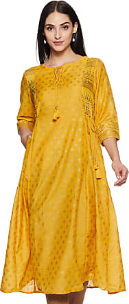 Indigo by Clarks Womens Synthetic a-line Kurta (SS20/IND-1529_ Mustard_ XX-Large)