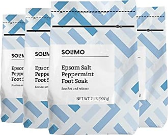 Solimo Amazon Brand - Solimo Soothing & Relaxing Peppermint Epsom Salt Foot Soak, 2 Pound (Pack of 4)