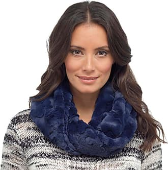 Foxbury Ladies Luxury Fake Faux vegan fur snood Soft Warm Winter Gift Scarf (Navy/Dark Blue)