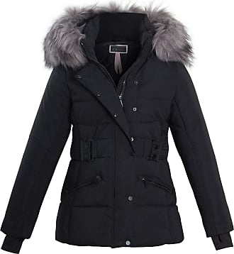 Shelikes Womens Ladies Faux Fur Trim Hood Belted Quilted Padded Jacket Coat Size [Black UK 10]