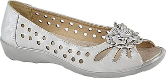 Boulevard Ladies Punched Open Toe Flower Trim Casual (8 UK, Light Silver)